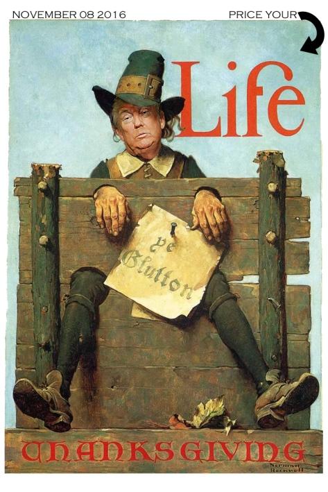 """""""Ye Glutton Trump"""" 2016 Joy Suzanne Grazer. 1923 Norman Rockwell, Ye Glutton, Life Magazine"""