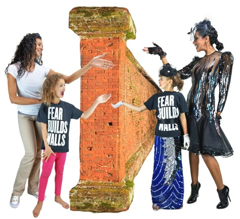 "Orphan V, Gossamer Gang, LLC 2017 (DWCT006, SESK001). ""Fear Builds Walls"" Model(s): Joy Suzanne & Poppy Burgeon. (Roger Waters Logo-Fear Builds Walls. Shoes: Gold Converse; Silver Heels: Versace; Patent Boots: Lanvin)"