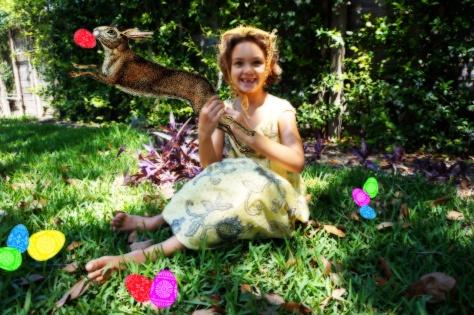 """Orphan V, Gossamer Gang, LLC 2017 (PRCT009,HAVC001). """"Easter Bunny Break-Out! - Caught!"""" Model: Poppy Burgeon"""