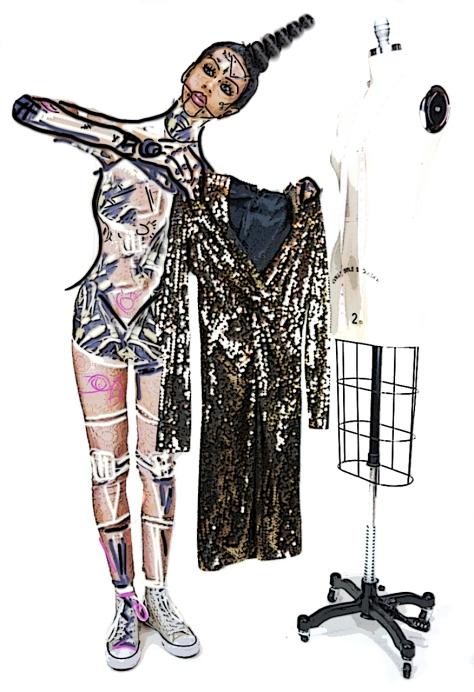 "Black Tie by Oleg Cassini, Gossamer Gang, LLC 2017 (SHCT053), Halloween ""Bots!"" Model: Joy Suzanne Grazer, Shoes: Chuck Taylor"